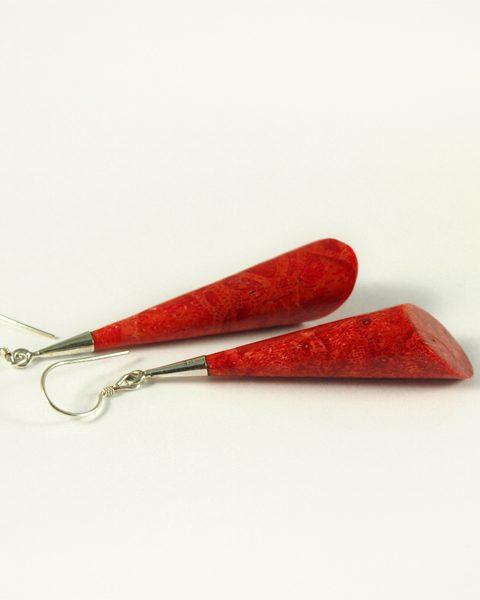 Schaumkoralle Ohrhänger, 5,6 Gramm, Tonnenform, rot