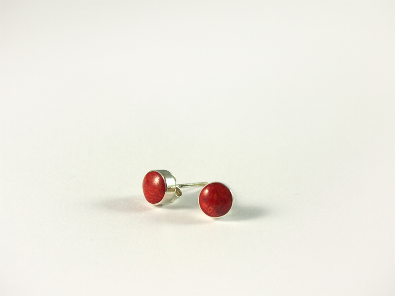 Schaumkoralle Ohrstecker, 1,2 gramm, silber, rund, dunkles rot