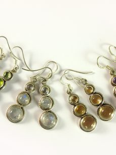 Ohrhänger Silber, 6,5 gramm, diverse edelsteinen