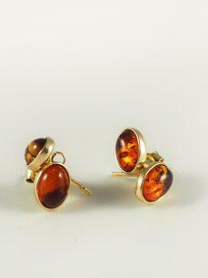 Bernstein Ohrschmuck, 1,4 gramm, oval, vergoldet, dunkles orange