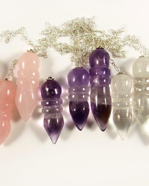 Pendel Bergkristall, Rosenquarz, Amethyst