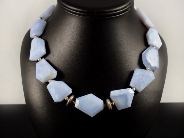 Chalcedon Kette blau natur grosse Platten