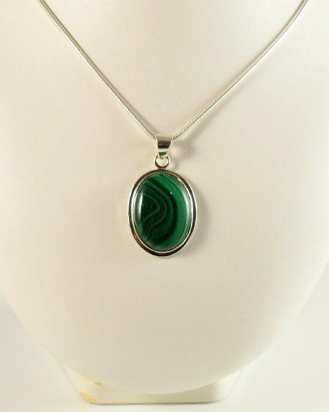 Malachit oval, grüne bänderung, schön, kräftige farbe