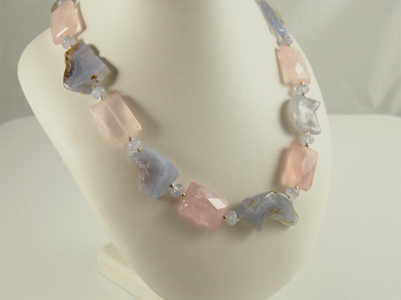 Rosenquarz, Chalcedon, Kette, design, grosse steine, schöne farbe