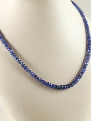 Tansanit, facette, top kette, feuer, blau violett, goldschließe