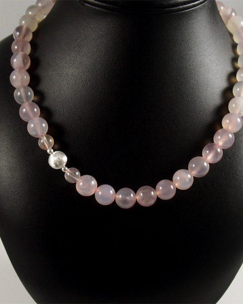 Chalcedon rosa, silberelement, kugelkette, Türkei