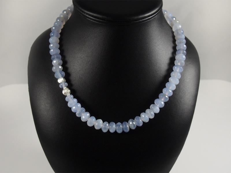 Chalcedon, Silberelement, Kette, schönes blau, Rondele