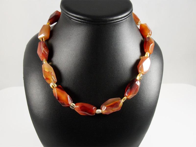 Karneol, gebändert, free form, mit zwischenelementen, braun, orange