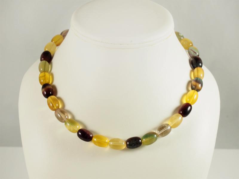 Regenbogenfluorit, gelbe steine, weich, silberteile, viele farben
