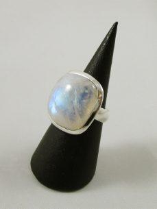 Regenbogen Mondstein, Ring, Silber, blau, quadratisch