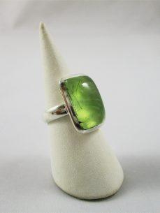 Prehnit Ring, grün, Silber, Rechteckig, Einschlüsse