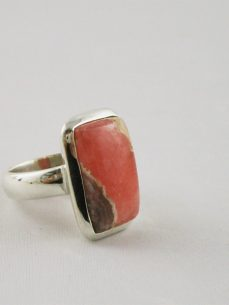 rhodochrosit, Ring, Silber, quadratisch,