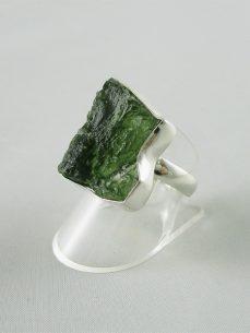 moldavit, Ring Silber, eckig, grün,