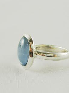 aquamarin, ring, blau, silber, zart