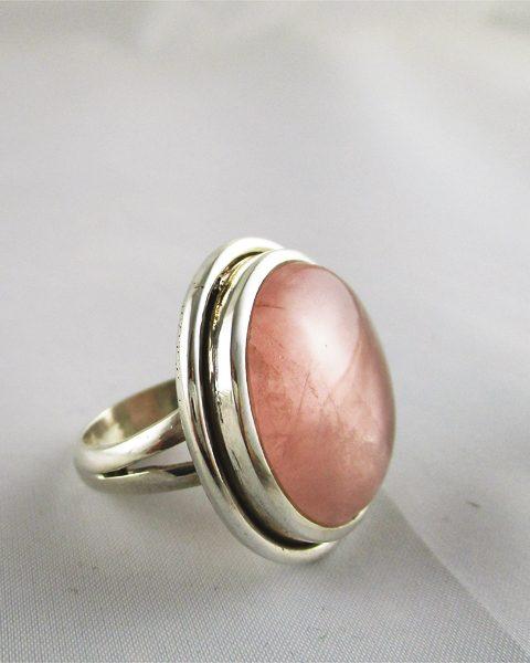 Rosenquarz, Ring, rund, Silber, Singer Edelsteine, Wien, online, kaufen