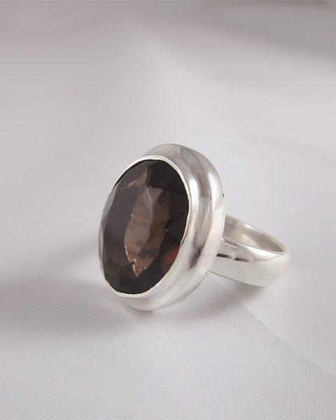 Rauchquarz, Ring, Silber, dunkel, facettiert, online Kaufen, Wien